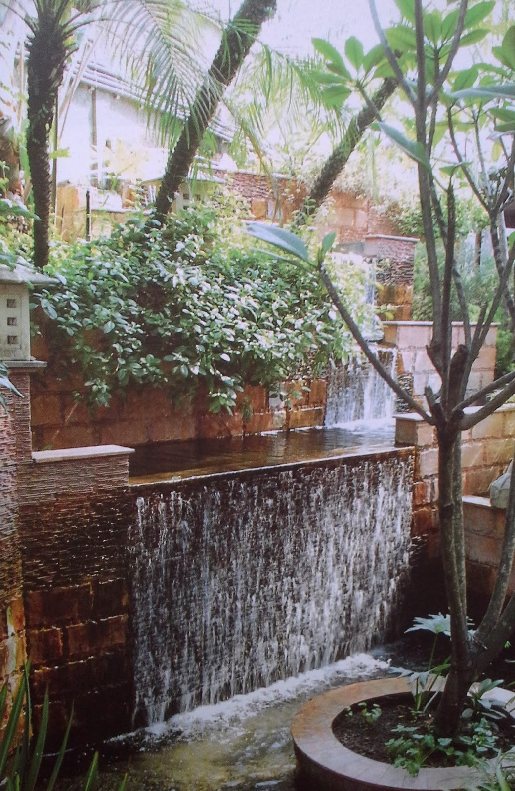 Jasa Tukang Taman Surabaya | Taman water feature water wall dan kolam koi