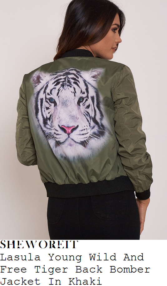 chloe-sims-lasula-young-wild-and-free-khaki-black-and-white-tiger-face-back-print-detail-bomber-jacket