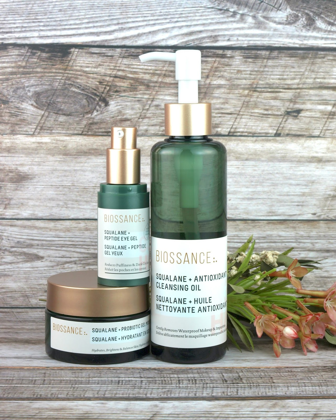 Biossance | Squalane + Antioxidant Cleansing Oil, Squalane + Probiotic Gel Moisturizer & Squalane + Peptide Eye Gel: Review