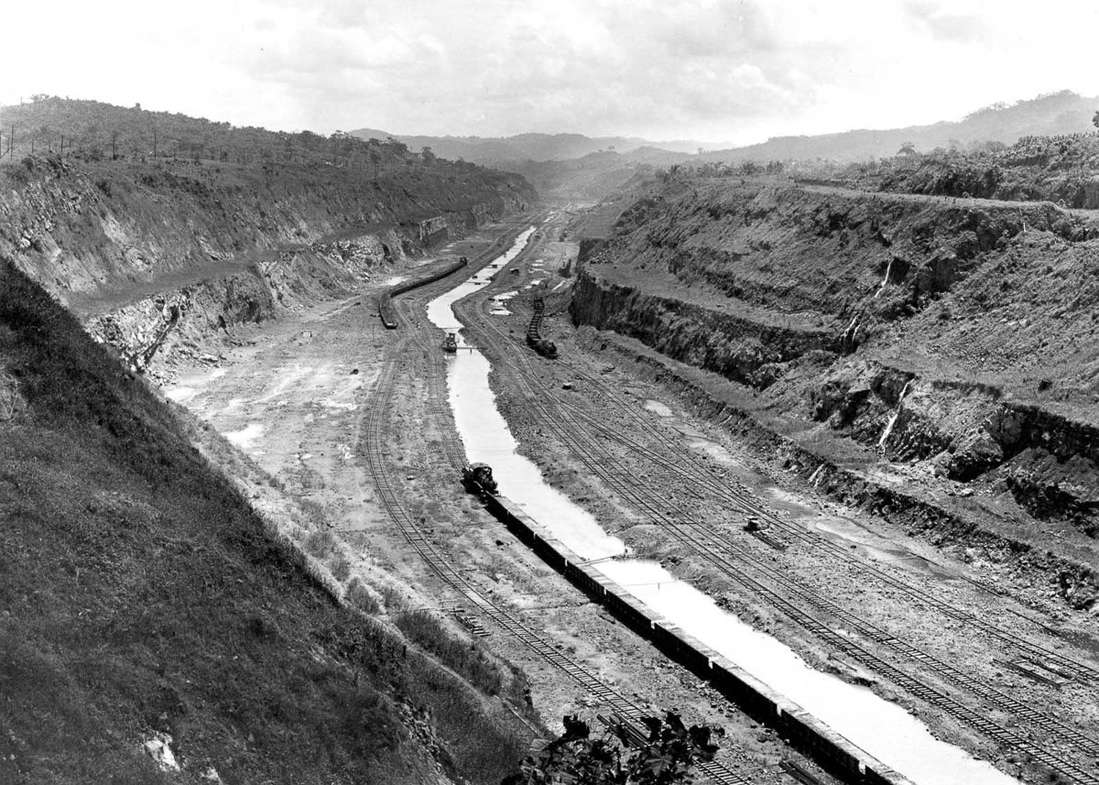 The Panama Canal under construction.
