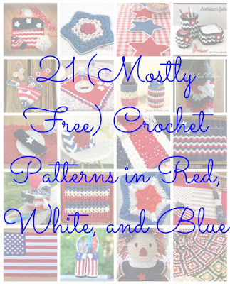 21 (Mostly Free) Crochet Patterns in Red, White, and Blue via the Crochet Guild of America | Celebrate July 4th/Independence Day or Bastille Day, or add some Americana-style to your home with patterns including afghans, blankets, and pillows; table decorations including placemats, hot pads, cup and can cozies, and dishcloths; and gifts for children.