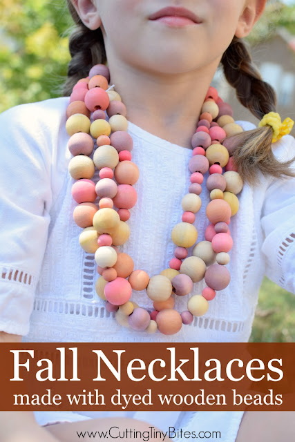 Beautiful fall necklace craft made with dyed wooden beads. Great fine motor activity for preschoolers, kindergartners, or elementary children.