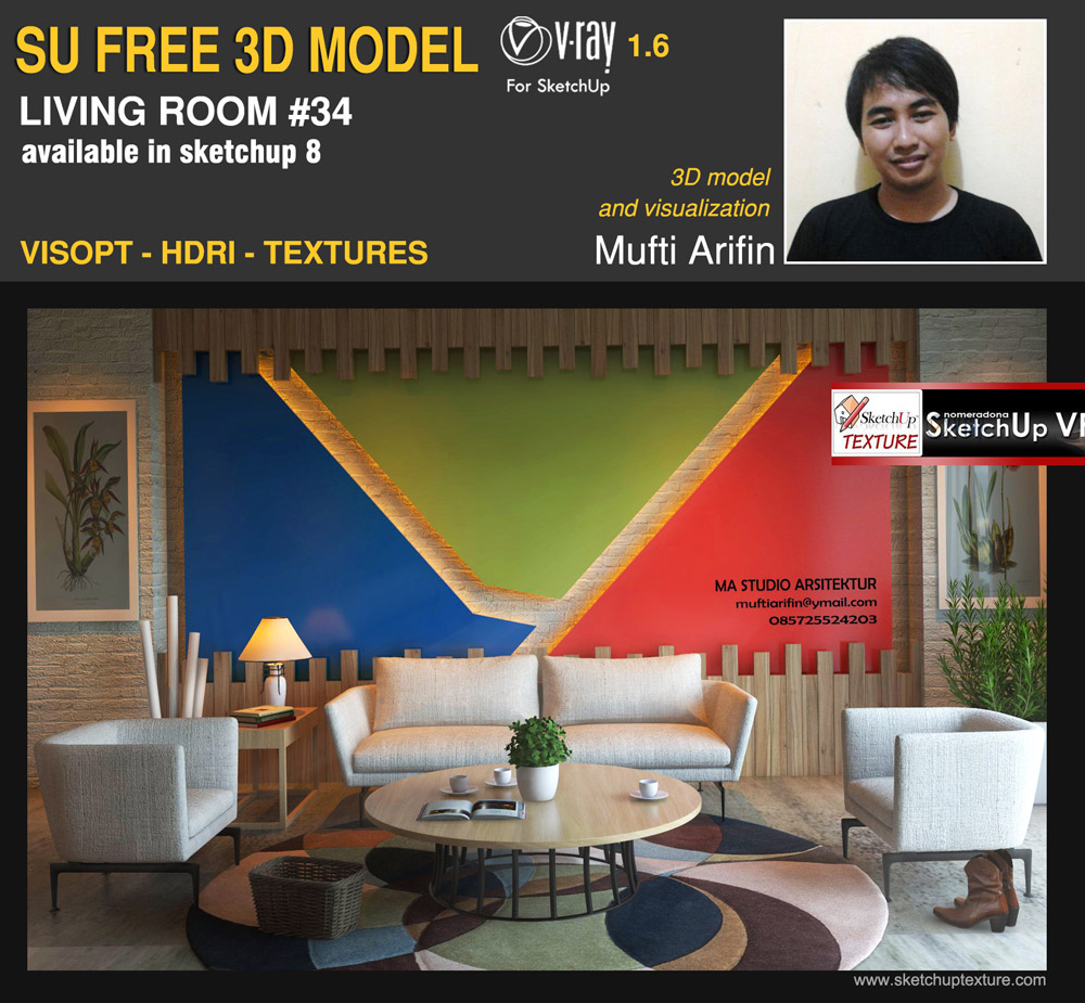 free sketchup 3d-model living-room 34 visopt and vray setting