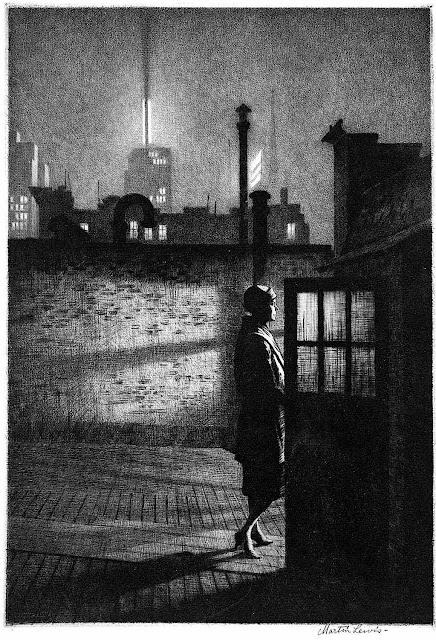Martin Lewis print of urban night 1920s rooftop