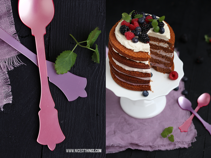 Sabre Besteck Acryl und Regenbogen Ombre Beeren Torte