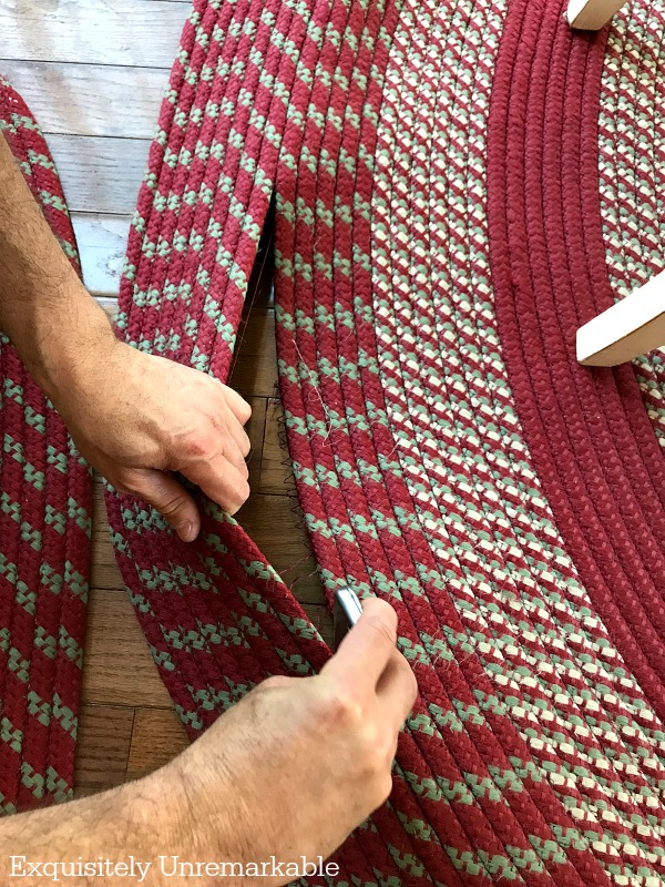 How To Trim A Braided Rug. An easy DIY to make your braided rug a custom size.