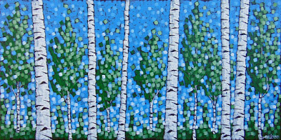 spring in hilltopper country by duluth artist aaron kloss, painting of spring birches, duluth art, lakesidegallery, pointillism, landscape painting