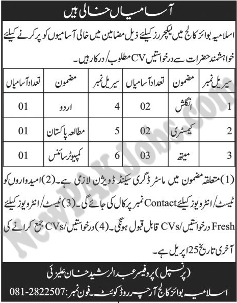 Islamia Boys College Jobs in Quetta for Lecturers