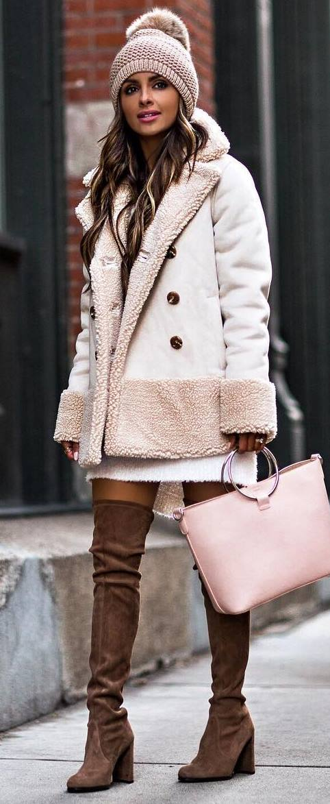 stylisn look | hat + coat + bag + sweater dress + brown over knee boots