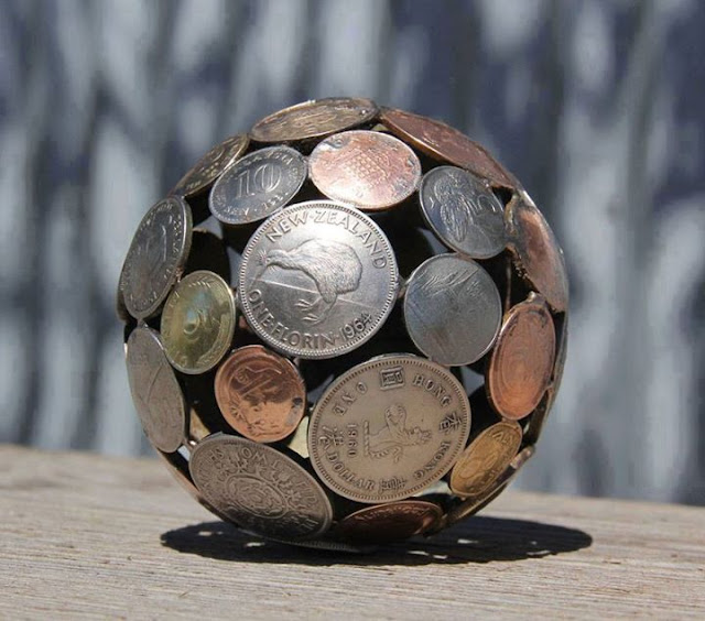 Perfect idea, Geometric Coin Sculptures !