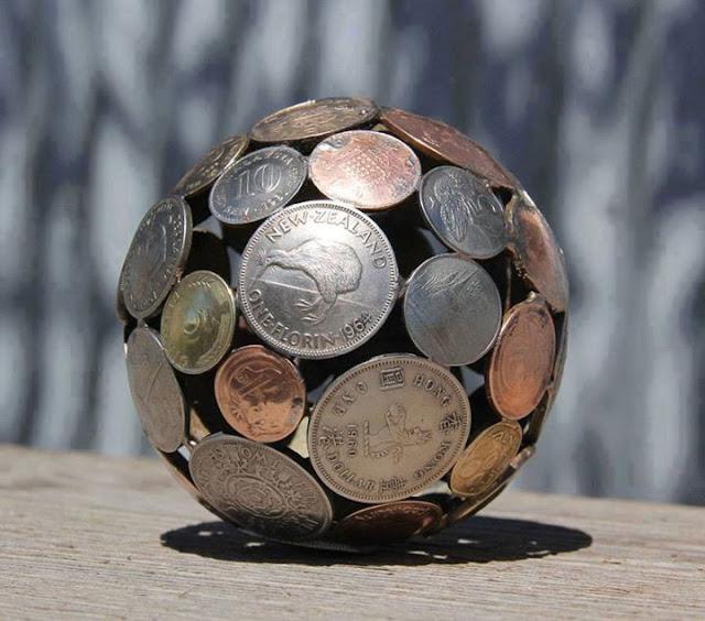 Perfect idea, Geometric Coin Sculptures !