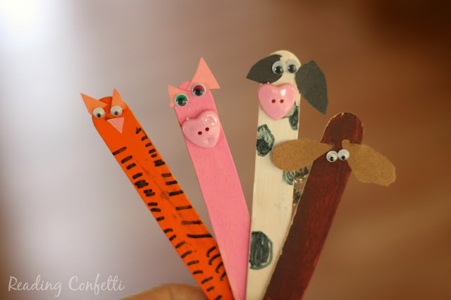 Create farm animals from craft sticks to use as bookmarks or as puppets to retell your favorite barnyard story.