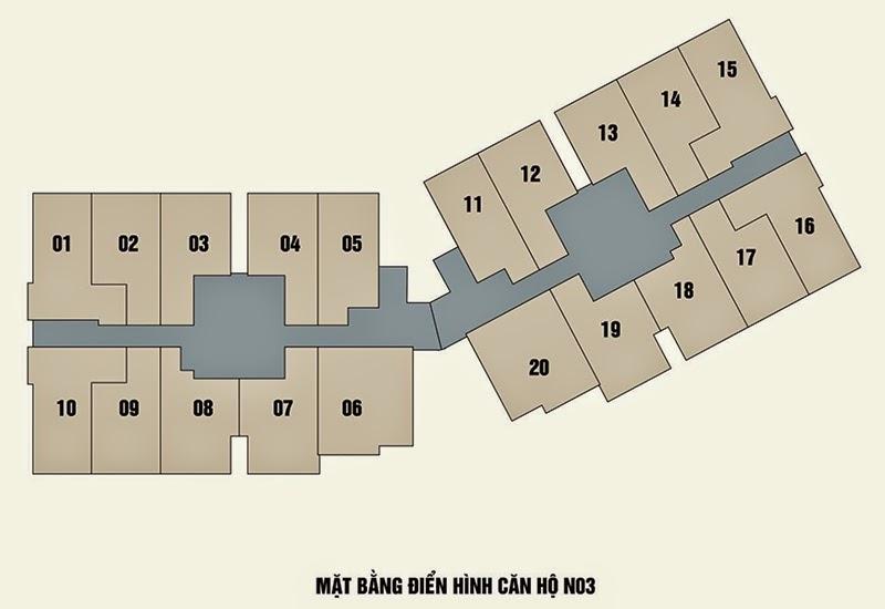 Mặt bằng căn hộ N03 chung cư New Horizon City 87 Lĩnh Nam