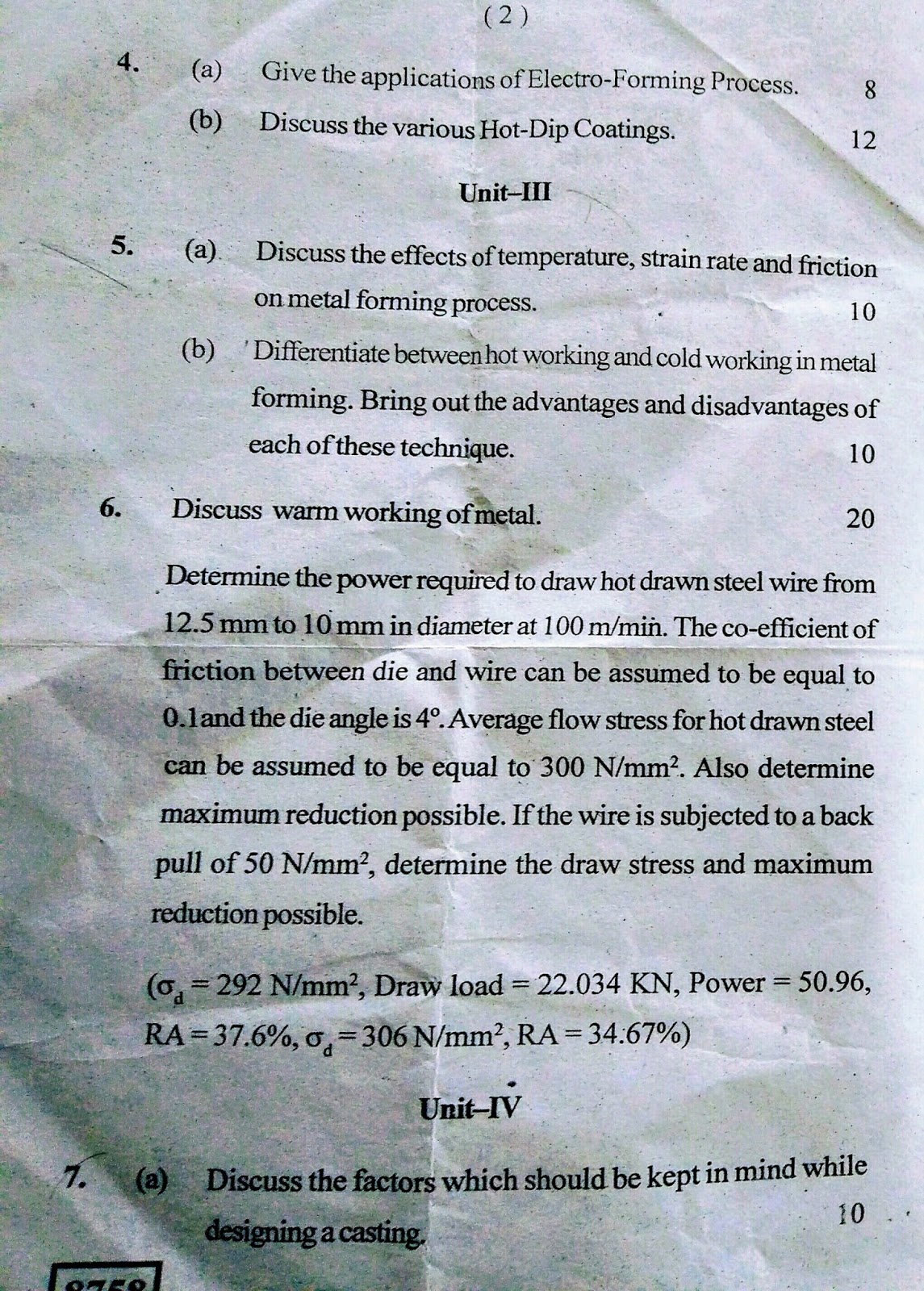 Mechanical Engineering Department: Question paper-AMT-7th