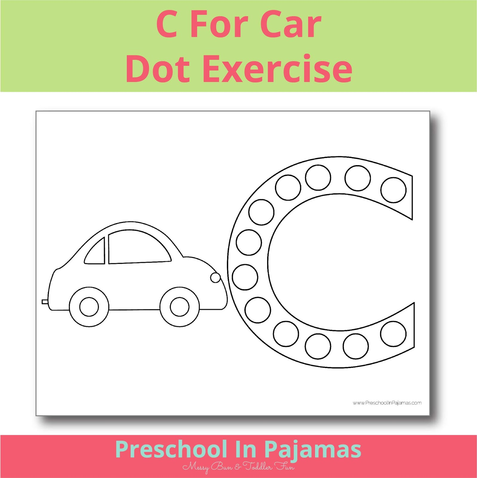 Free C Is For Car Dot Exercise Printable
