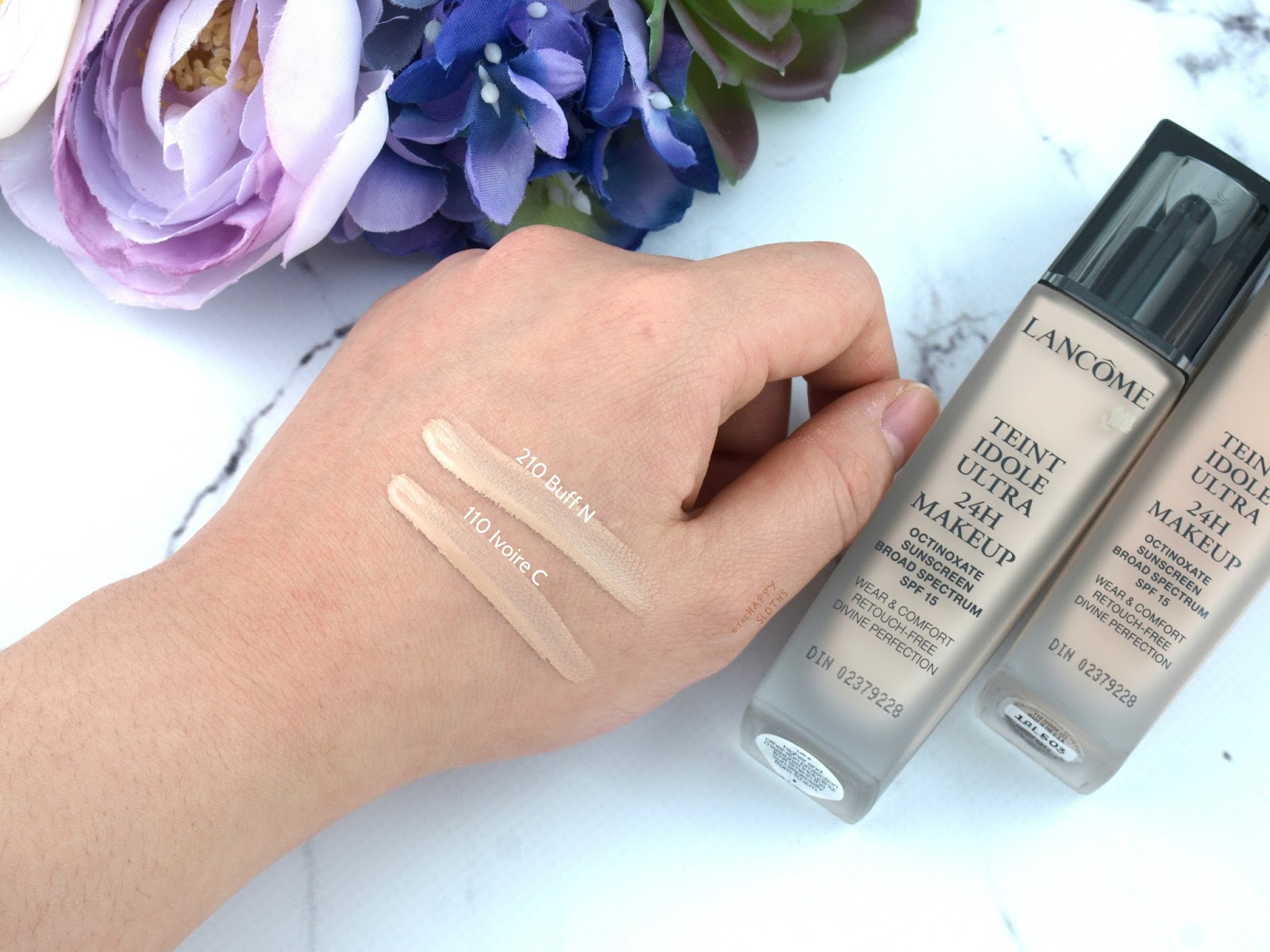 "Lancome Teint Idole Ultra Long Wear 24H Foundation in ""210 Buff N"" & ""110 Ivoire C"": Review and Swatches"