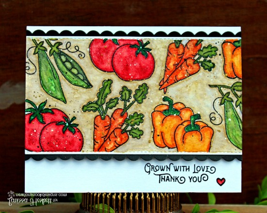 Grown with Love Vegetable Card by Larissa Heskett | Vegetable Garden stamp set by Newton's Nook Designs #newtonsnook