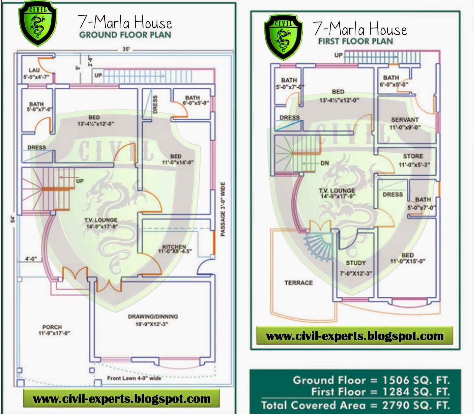 Home Design 3d Map: Civil Experts: 7 Marla House Plans