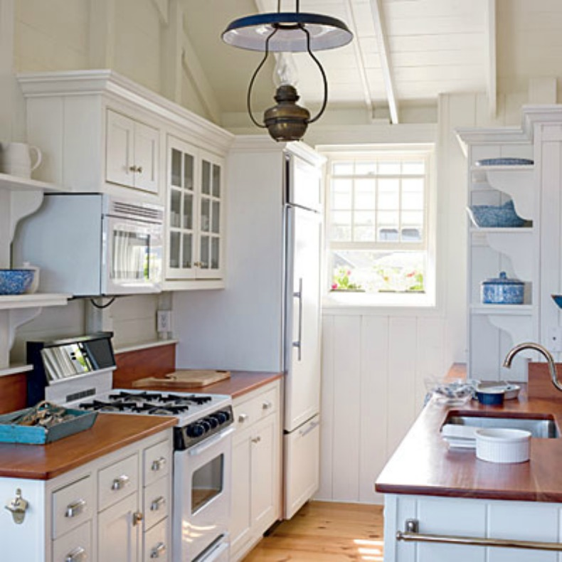 Coastal kitchen with authentic ship light