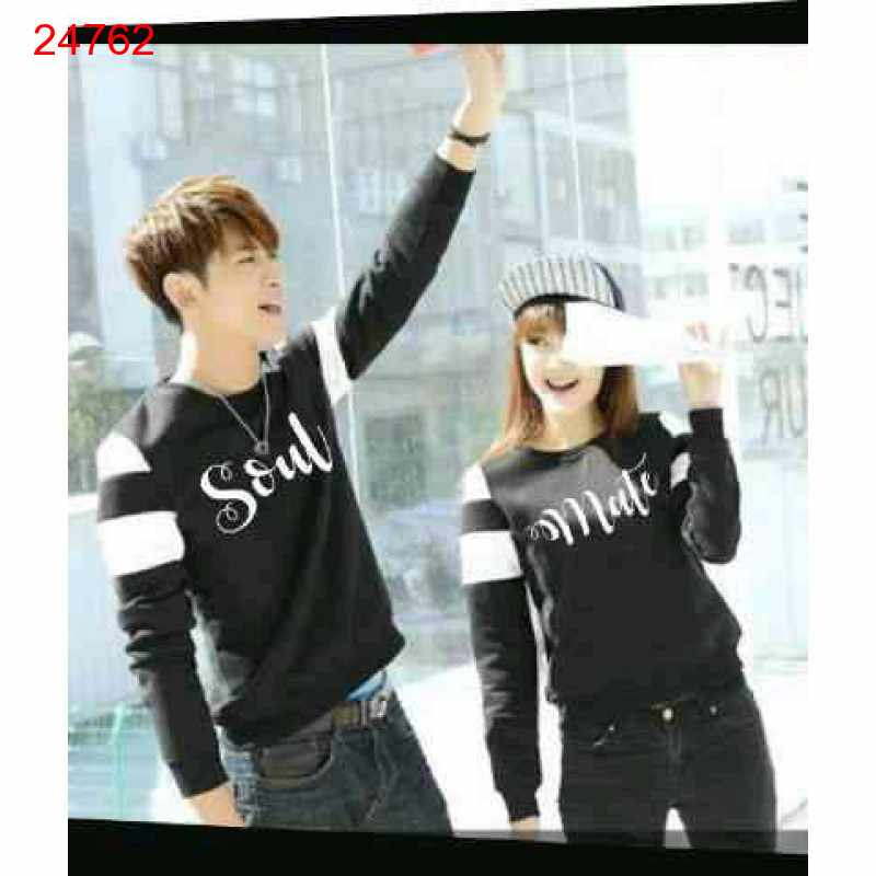 Jual Sweater Couple Sweater Soulmate Arm Black White - 24762