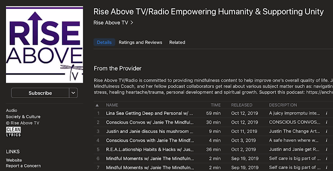 Rise Above TV Podcast is Janie Terrazas Positive Mindfulness Energy Blast