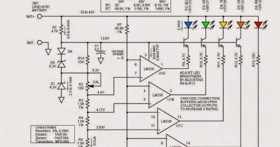 36V Battery Level LED Indicator Circuit Schematic