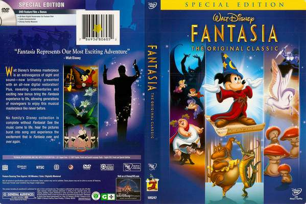 DVD cover front and back of Fantasia 1940 animatedfilmreviews.filminspector.com