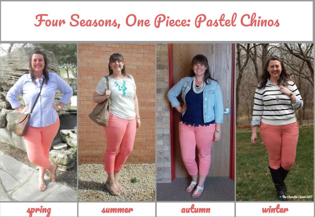 Coral pants styled for all four seasons