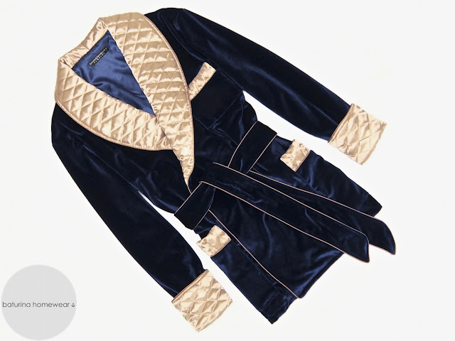Men's smoking jacket velvet robe quilted silk dressing gown blue gold warm heavy thick
