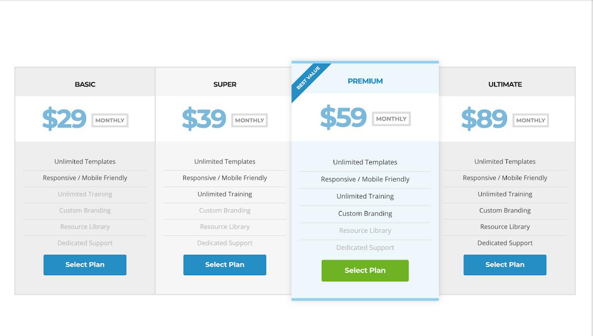 Responsive Pricing plan layout using flexbox
