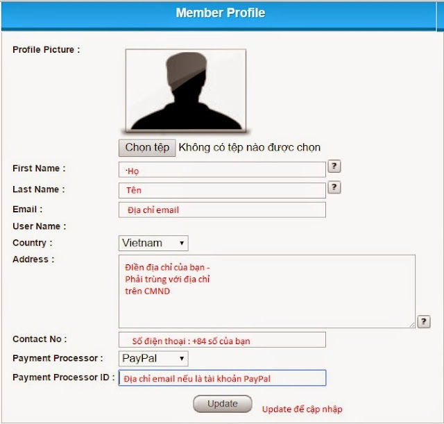 Hướng dẫn cập nhập Profile Clickadpays