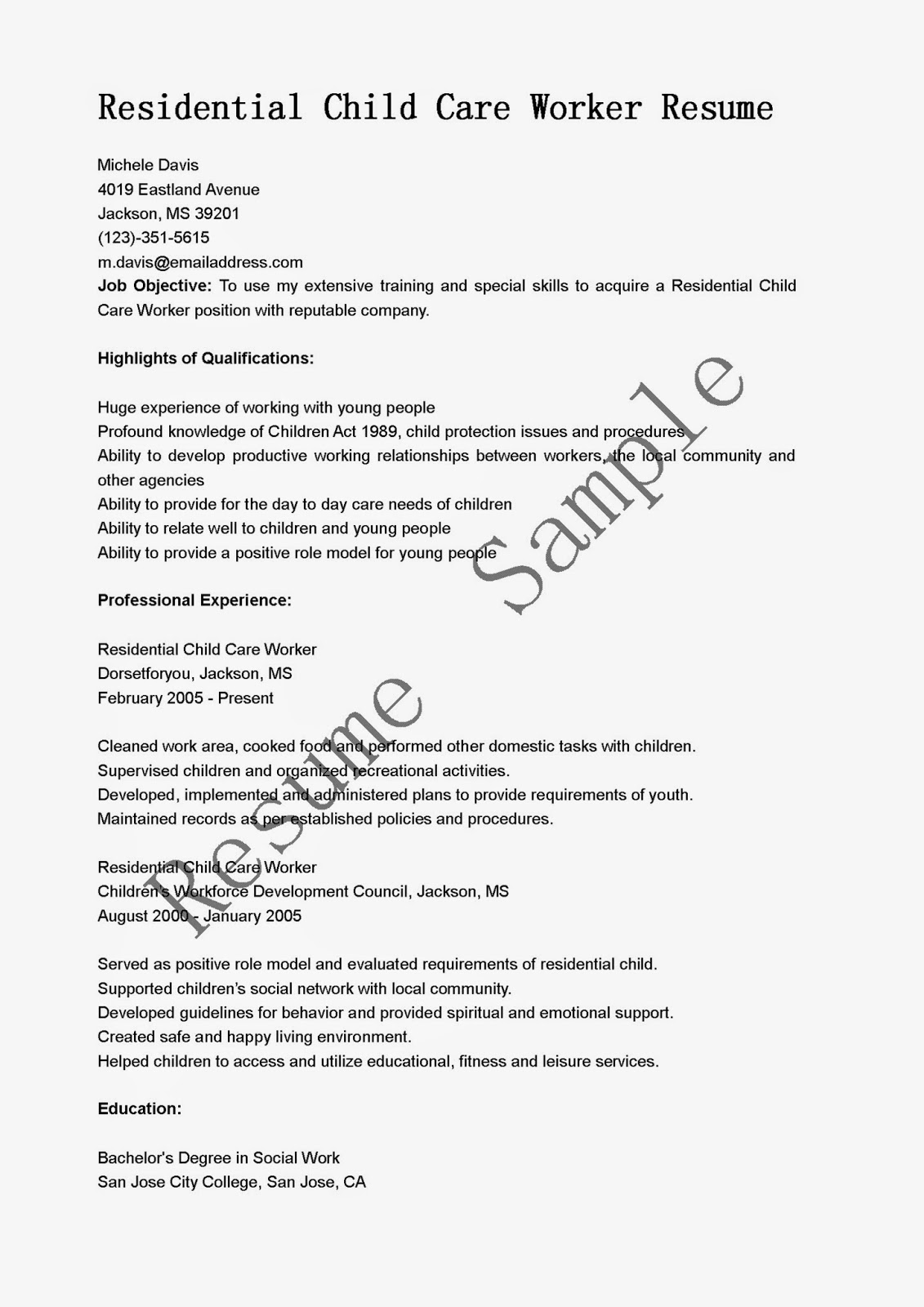 Resume samples residential child care worker resume sample for Sample resume for personal care worker