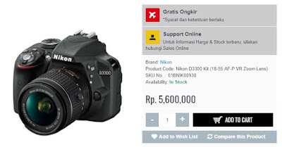 Harga Nikon D3300 + Kit Lense Rp 5600.000; di Tokocamzone.Com