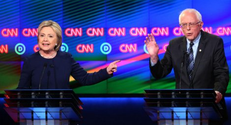 Hillary Clinton and Bernie Sanders at 7th Democratic debate