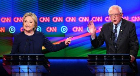 Hillary Clinton and Bernie Sanders at 7th Democratic debate