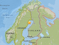 Earthquake epicenter ma of Sweden and Finland