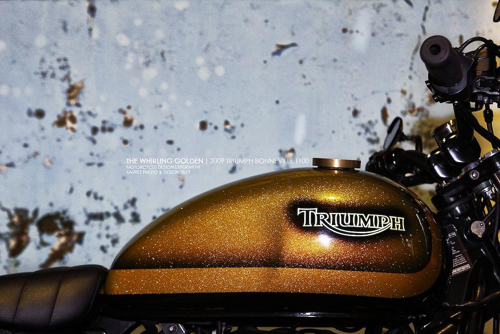 whirling golden triumph bonneville ~ return of the cafe racers