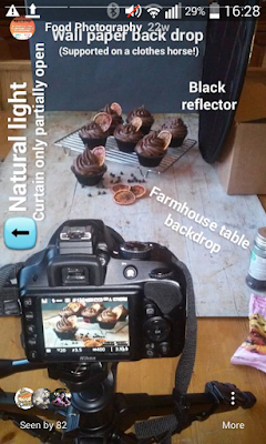 My usual food photography set up as shown in my Instagram Stories