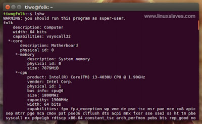 Show hardware details on terminal Linux