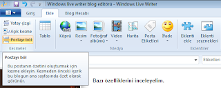 Windows writer menüsü