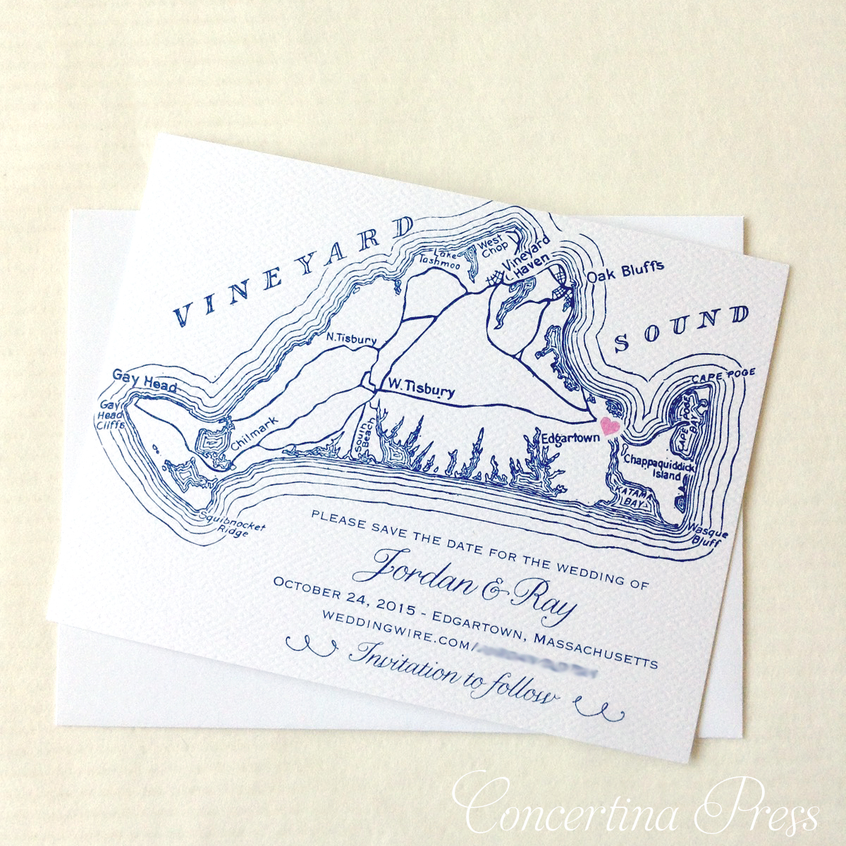 Cape Cod wedding blog photo from Concertina Press - Stationery and Invitations about Martha's Vineyard Save the Dates with Map and Tiny Heart