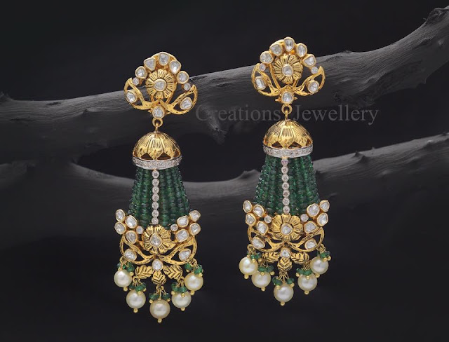 Emerald Beads Earrings from Creations Jewelry