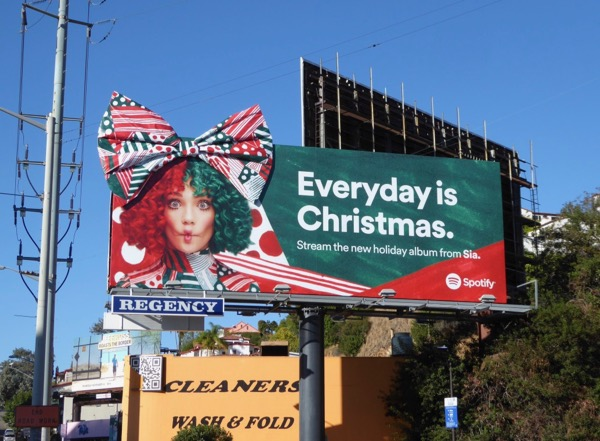 Sia Everyday is Christmas 3D bow Spotify billboard