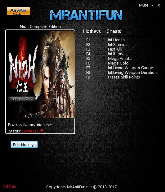Nioh Complete Edition PC: Trainer (+9) [1 21 04] {MrAntiFun} - Pc