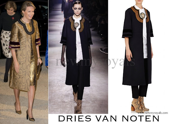 Queen Mathilde wore Dries Van Noten Coat and dress Winter 2016/2017 Collection