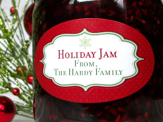 Custom Red Christmas Oval Canning Jar Labels