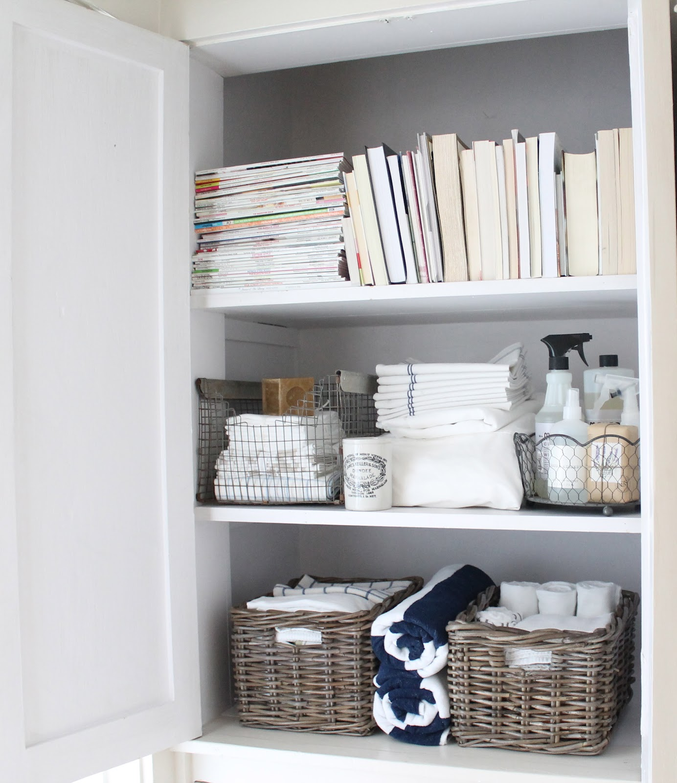 linen closet shelving ideas - 12th and White The Linen Closet Small Space Storage