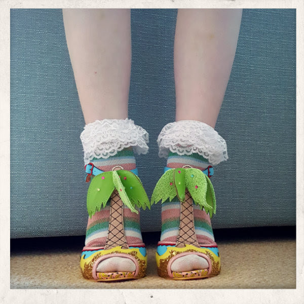 wearing irregular choice miami palm tree shoes