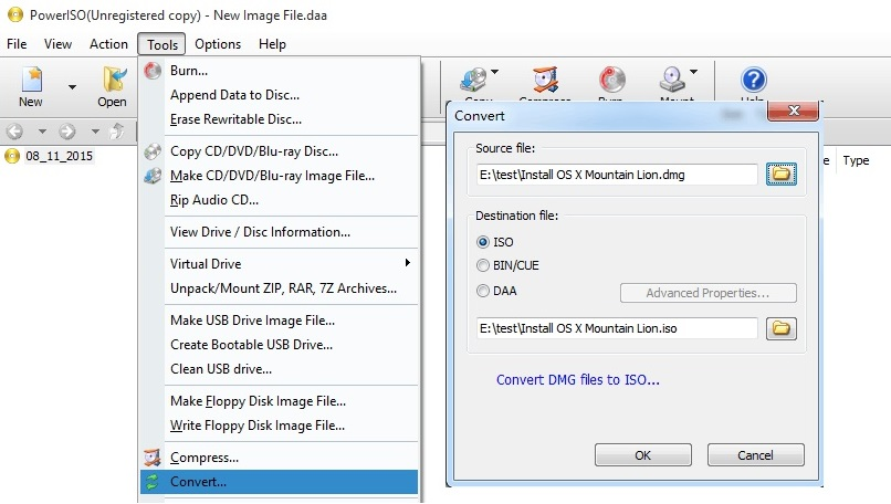 Ranjan Mantri: Convert DMG file to ISO by using Power ISO