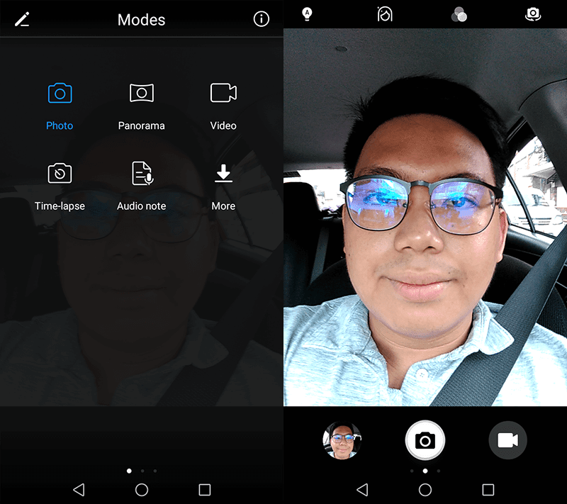 Selfie cam modes and UI